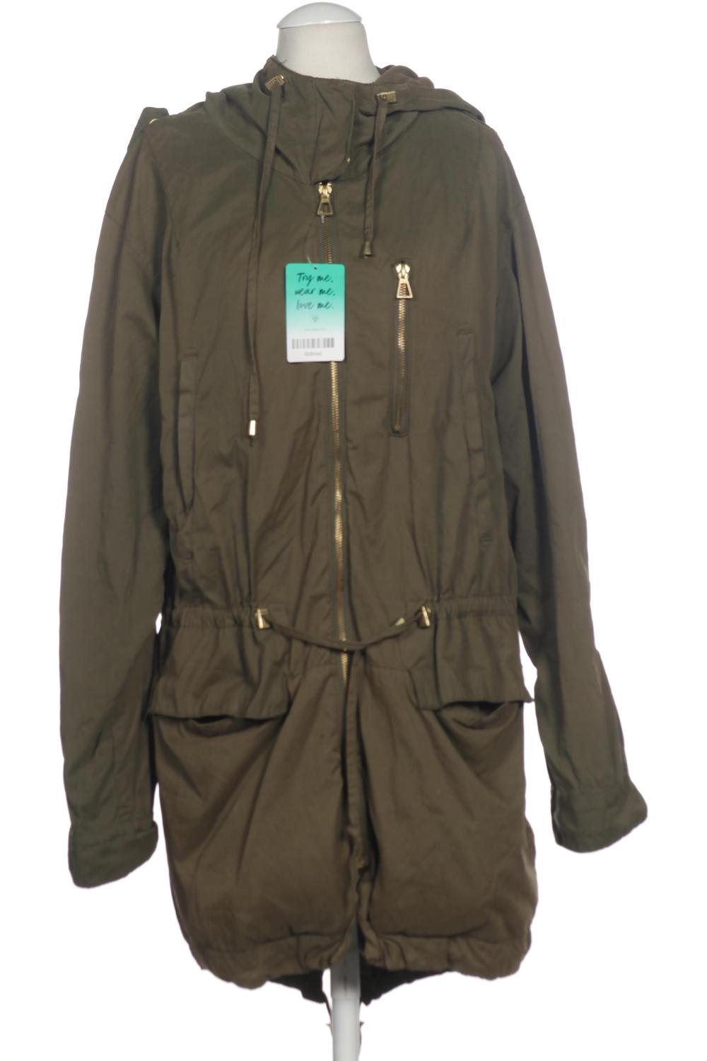 ZARA Mantel Damen Jacke Parka Gr. S Baumwolle grün #fddbead